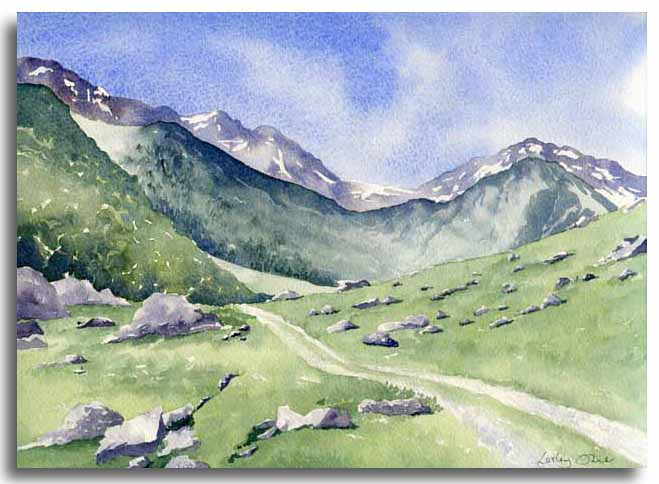 Original watercolour painting of the Orlu Valley by artist Lesley Olver