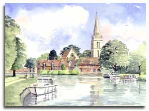 Original watercolour painting of Abingdon, by artist Lesley Olver