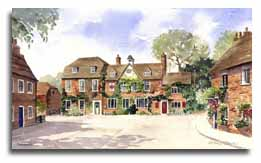 Print of watercolour painting of Aldermaston, by artist Lesley Olver