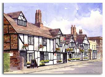 Print of watercolour painting of Amersham, by artist Lesley Olver