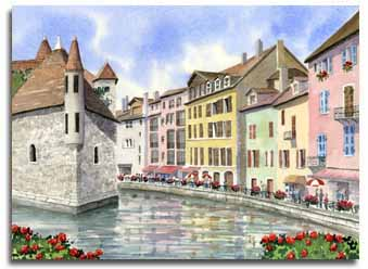 Original watercolour painting of Annecy, France, by artist Lesley Olver
