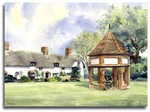 Print of watercolour painting of Ardeley, by artist Lesley Olver