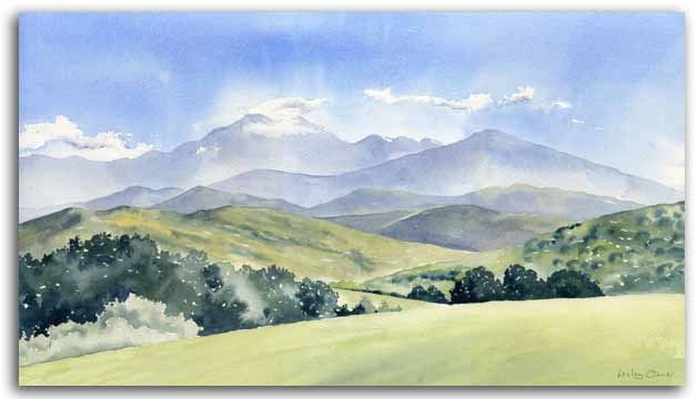 Original watercolour painting of the Ariege, by artist Lesley Olver