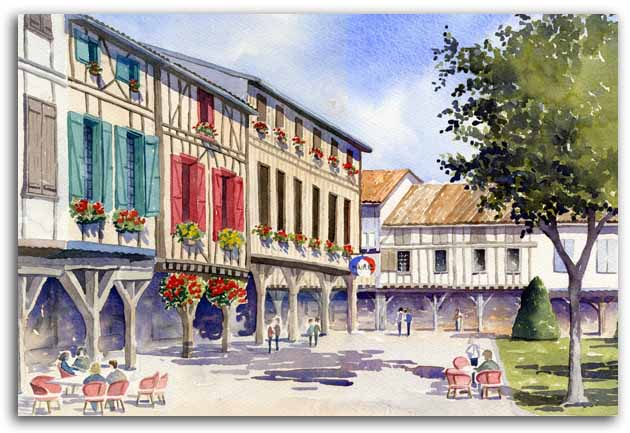 Original watercolour of Mirepoix, by artist Lesley Olver