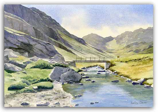 Original watercolour painting of the Pyrenees by artist Lesley Olver