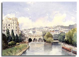 Print of watercolour painting of Bath, by artist Lesley Olver