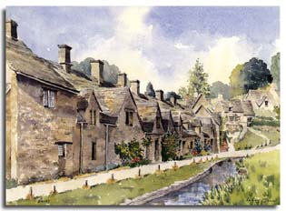Print of watercolour painting of Bibury, by artist Lesley Olver