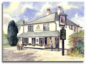 Print of watercolour painting of The Royal Standard in Binfield  by artist Lesley Olver