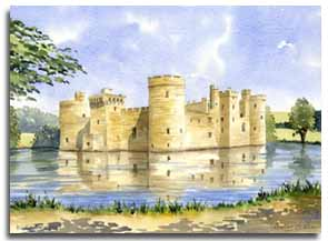 Print of watercolour painting of Bodiam Castle, by artist Lesley Olver