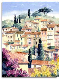 Print of watercolour painting of Bormes les Mimosas, France, by artist Lesley Olver