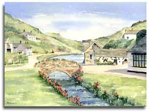 Original watercolour painting of Boscastle, by artist Lesley Olver