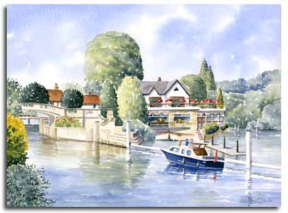 Original watercolour painting of Boulters Hotel, Maidenhead, by artist Lesley Olver