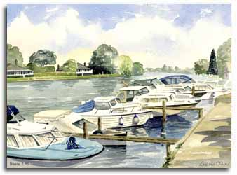 Original watercolour painting of Bourne End, by artist Lesley Olver