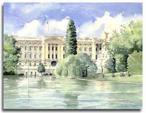 Print of watercolour painting of Buckingham Palace, by artist Lesley Olver