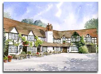 Print of watercolour painting of 'The Bull' at Sonning, by artist Lesley Olver