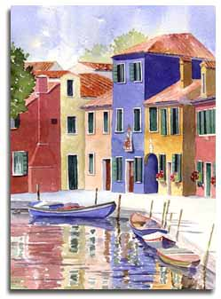 Print of watercolour painting of Burano, by artist Lesley Olver