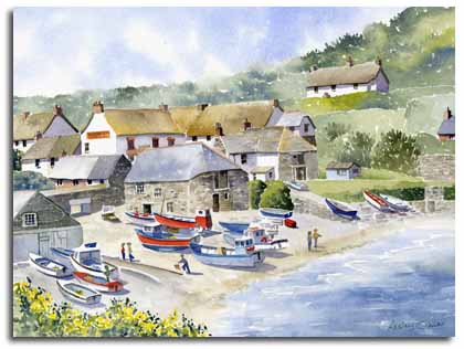 Original watercolour painting of Cadgwith, by artist Lesley Olver