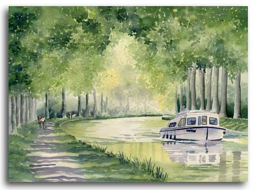 Original watercolour painting of the Canal du Midi by artist Lesley Olver