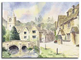 Original watercolour painting of Castle Combe, by artist Lesley Olver