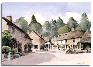 Print of watercolour painting of Castle Combe, by artist Lesley Olver