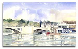 Print of watercolour painting of Caversham, by artist Lesley Olver