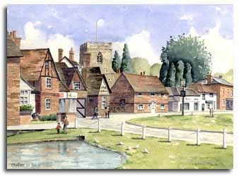 Print of watercolour painting of Chalfont St.Giles, by artist Lesley Olver