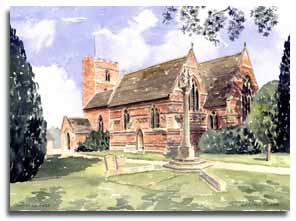 Print of watercolour painting of Chalfont St Peter, by artist Lesley Olver