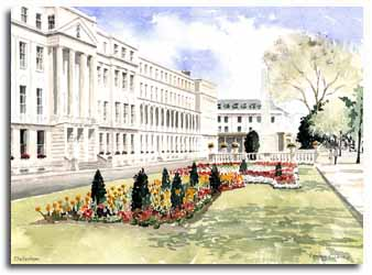 Print of watercolour painting of Cheltenham, by artist Lesley Olver
