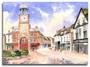 Original watercolour painting of Chesham, by artist Lesley Olver
