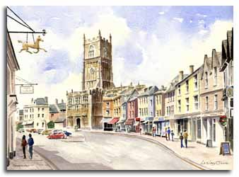 Original watercolour painting of Cirencester, by artist Lesley Olver