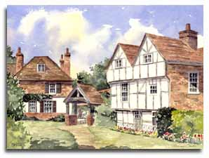 Print of watercolour painting of Cobham, By artist Lesley Olver