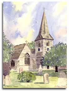 Print of watercolour painting of Cobham Church, by artist Lesley Olver