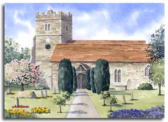 Print of watercolour painting of Cookham Church, by artist Lesley Olver