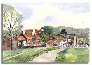 Print of watercolour painting of Cookham, by artist Lesley Olver