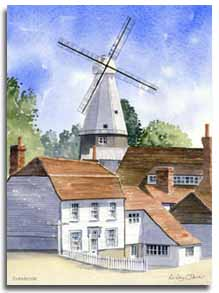 Print of watercolour painting of Cranbrook windmill, by artist Lesley Olver