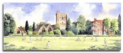 Limited Edition Print of watercolour painting of Cricket at Bray, by artist Lesley Olver