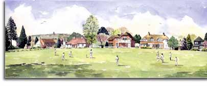 Print of watercolour painting of Cricket at Littlewick Green, by artist Lesley Olver