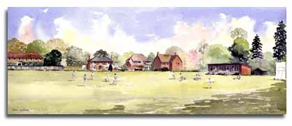 Print of watercolour painting of Cricket at White Waltham, by artist Lesley Olver