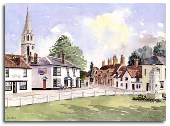 Print of watercolour painting of Datchet, by artist Lesley Olver