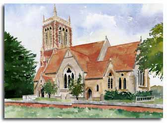 Print of watercolour painting of Easthampstead Church, by artist Lesley Olver