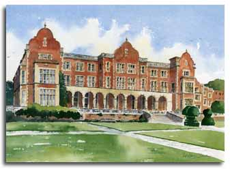 Print of watercolour painting of Easthampstead Park, by artist Lesley Olver