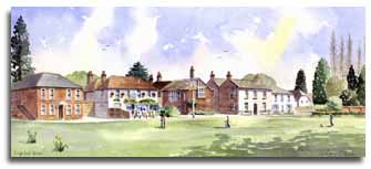 Print of watercolour painting of Englefield Green, by artist Lesley Olver