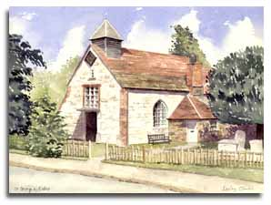 Print of watercolour painting of Esher, by artist Lesley Olver