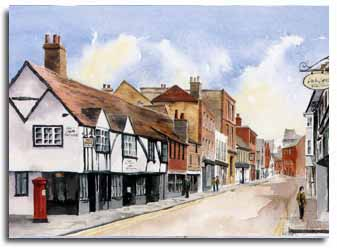 Print of watercolour painting of Eton High Street, by artist Lesley Olver