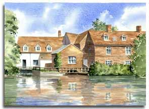 Print of watercolour painting of Flatford Mill, by artist Lesley Olver