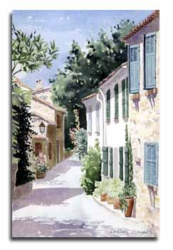 Print of watercolour painting of Gassin village, France, by artist Lesley Olver