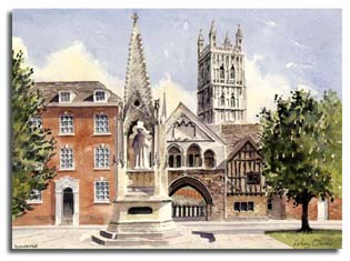Original watercolour painting of Gloucester cathedral, by artist Lesley Olver
