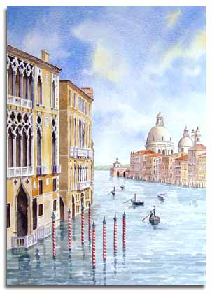 Original watercolour painting of the Grand Canal, Venice, by artist Lesley Olver