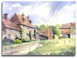 Print of watercolour painting of Groombridge, by artist Lesley Olver