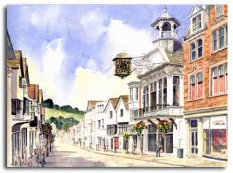 Print of watercolour painting of Guildford, by artist Lesley Olver
